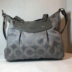 Coach Grey/White Ashley Dotted Op Art Handbag
